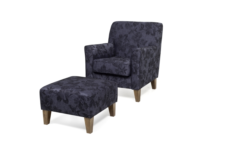 KEATS chair + footstool (DAGANIO 16_2 dark blue floral) (2) softnord lyragroup